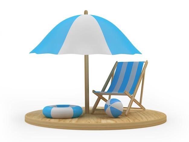 3d render drewniana deska z parasolem plażowym, krzesłem i kołami ratunkowymi na białym tle