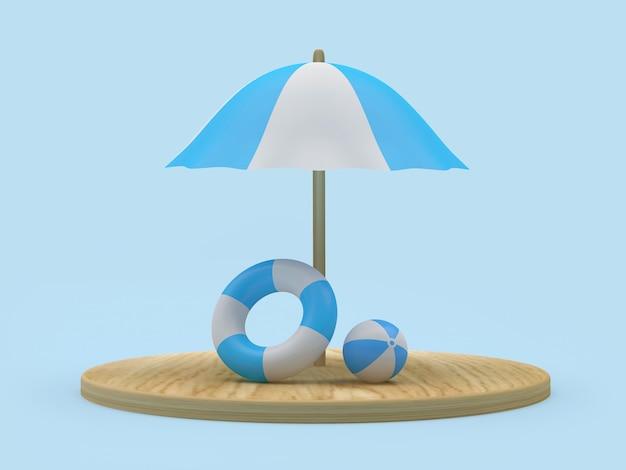 3d render drewniana deska z parasolem plażowym, piłką plażową i kołem ratunkowym na białym tle
