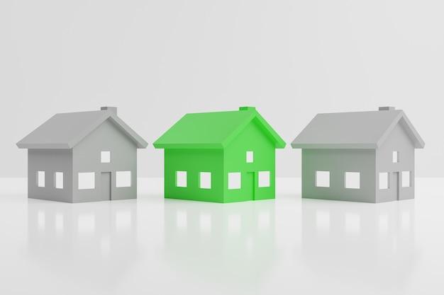 3d render dwa szare domy i jeden zielony pośrodku na białym tle