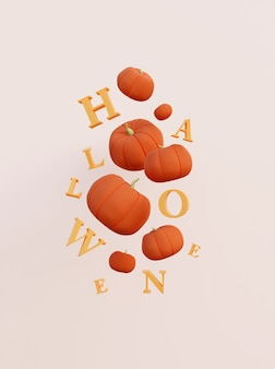 3d render dyni halloween i liter cute halloween wakacje koncepcja holiday