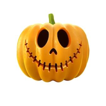 3d render dyni jack-o-lantern. straszna ilustracja wakacje halloween na białym tle.