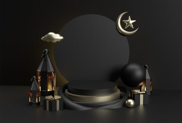 3d render eid mubarak celebracja ze sceną minimalnej sceny podium dla projektowania reklam produktów displayowych.