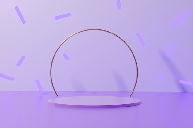 3d render fioletowy kolor okrągły podium z błyszczącym złotym metalicznym pierścieniem i spadającymi neonowymi patykami na monochromatycznym tle