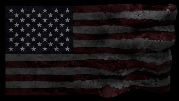 3d render flagi ameryki w stylu grunge z odciskami dłoni.