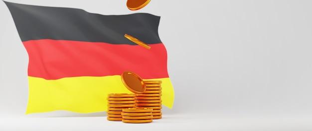 3d render flagi niemiec i złote monety. biznes online i e-commerce na zakupy w internecie i koncepcja inwestycji. bezpieczna transakcja płatności online za pomocą smartfona.