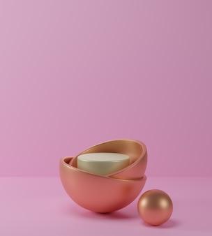 3d render geometryczne abstrakcyjne pastelowe tło sceny ze złotym i białym podium, różowe tło, luksusowa minimalistyczna makieta.
