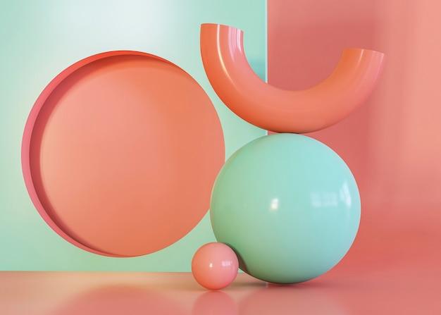 3d render geometryczne kształty tła