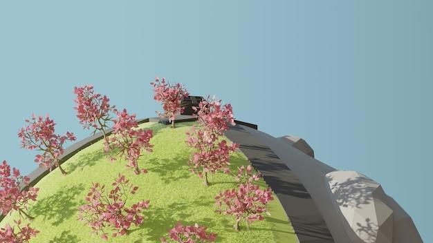 3d render globu z różowymi drzewami i zieloną trawą i rockiem