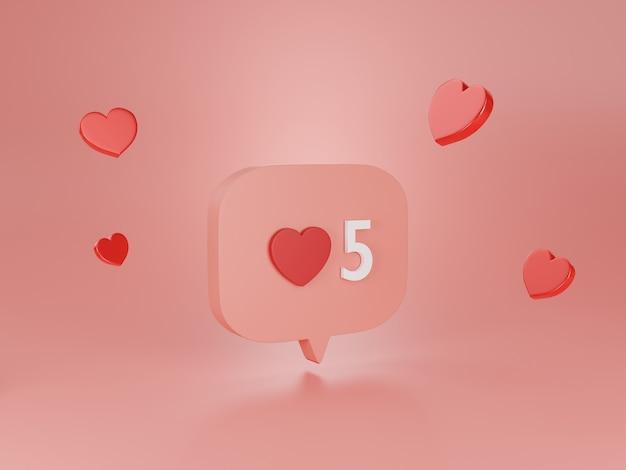 3d render ikona serca.