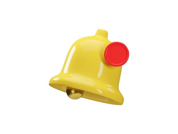 3d render ikona żółtego dzwonka powiadomienia na białym tle