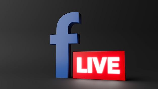3d render ikony na żywo na facebooku