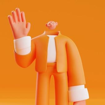 3d render ilustracja aktywności społecznej człowieka machającego ręką, aby się przywitać