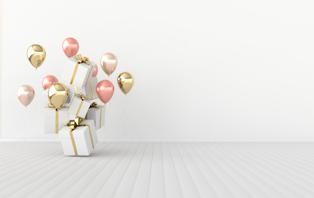 3d render ilustracja błyszczące kolorowe balony i pudełko