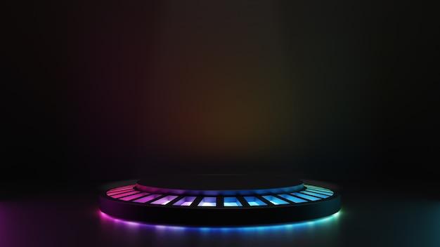 3d render ilustracja czarnych kroków cokole z okręgiem kolorowe światło led na ciemnym tle. obraz do prezentacji cyfrowej.