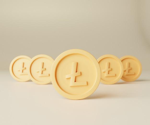 3d render ilustracja koncepcja litecoin