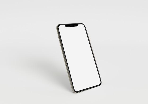 3d render ilustracja ręka trzymająca biały smartfon z pełnym ekranem i nowoczesną ramką mniej desi