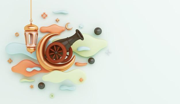 3d render islamska dekoracja z kanionem, półksiężycem i latarnią na jasnym miętowym tle