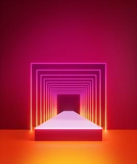 3d render jasnego światła neonowego wewnątrz kwadratowego tunelu