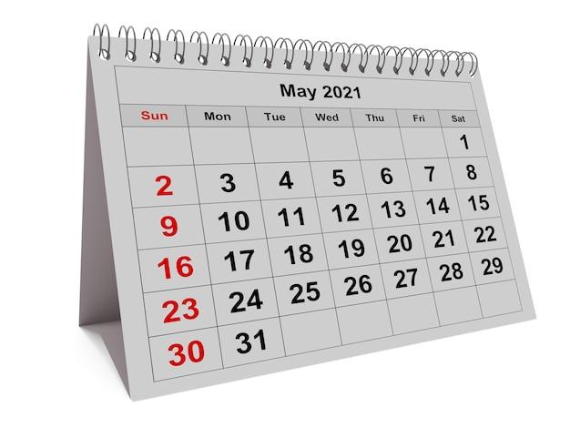 3d render kalendarz miesięczny na stronie maja dwa tysiące dwadzieścia jeden