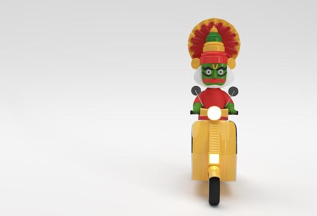 3d render kathakali man riding motor scooter onam festiwal południowych indii kerala.