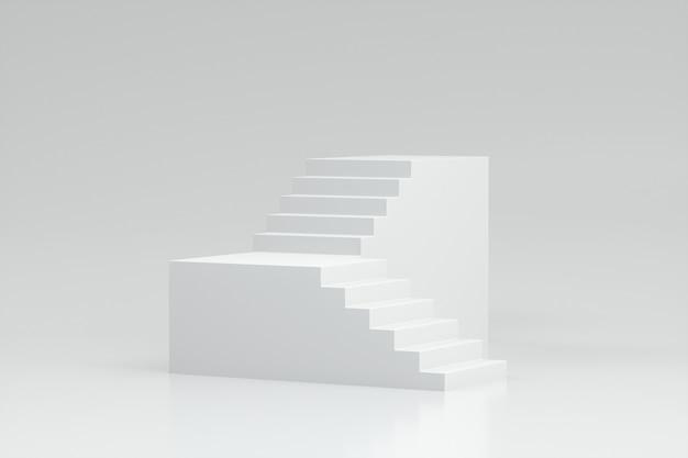 3d render klatki schodowej na białym tle