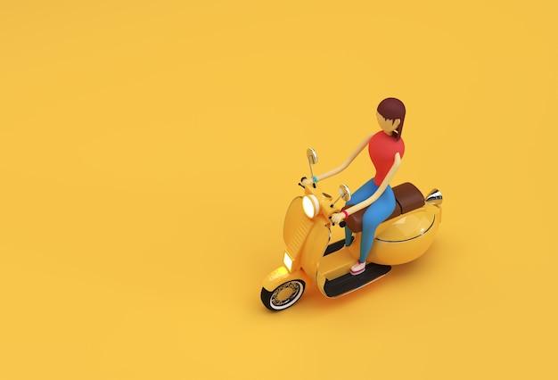 3d render kobieta riding motor scooter widok z boku na żółtym tle.