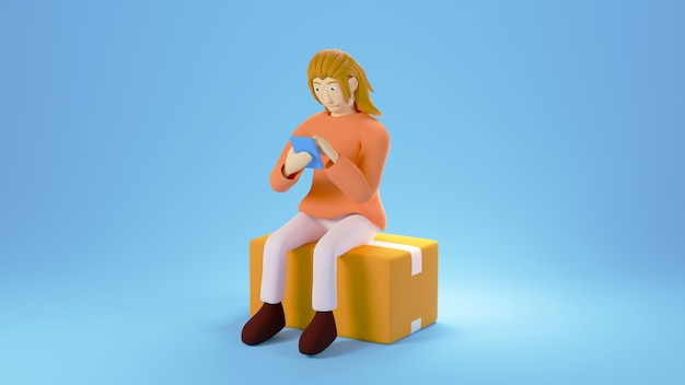 3d render kobiety zakupy na telefon komórkowy. biznes online mobilny i e-commerce.
