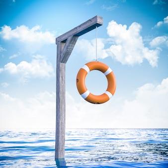 3d render koło ratunkowe wiszące na środku morza jako fałszywy ratunek