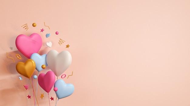 3d render kolorowe balony na jasnożółtym tle