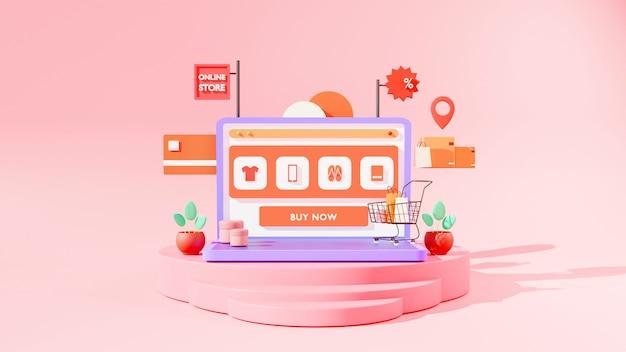 3d render koncepcji zakupów online.