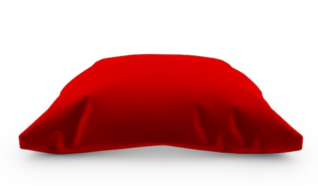 3d render królewskiej czerwonej aksamitnej poduszki na białym tle