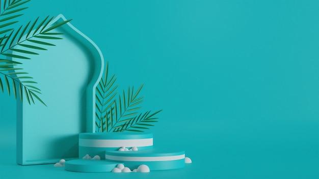 3d render kształtu drzwi meczetu z podium, zielonych liści na turkusowym tle i przestrzeni kopii.