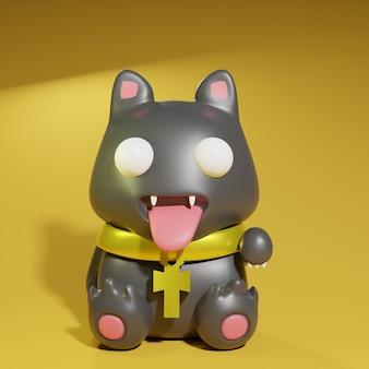 3d render ładny czarny kot z egipskim naszyjnikiem na żółtym tle