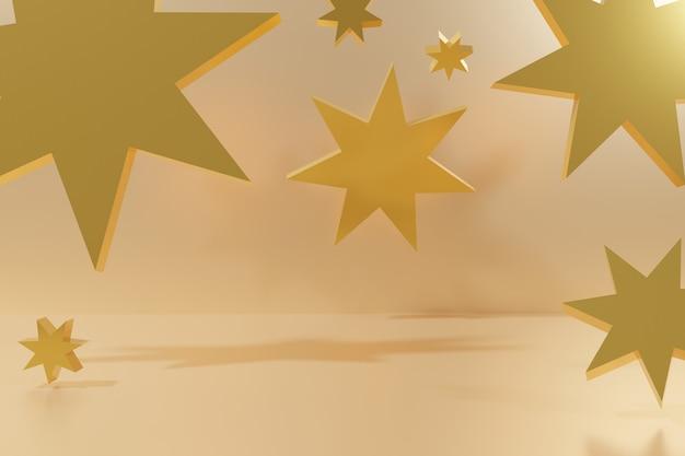 3d render latających złotych szklanych gwiazd na beżowym szablonie tła dla twojego świątecznego projektu