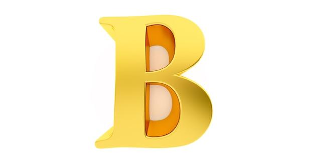 3d render litery b w złotym metalu na białym tle