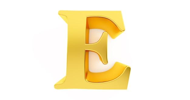 3d render litery e w złotym metalu na białym tle.
