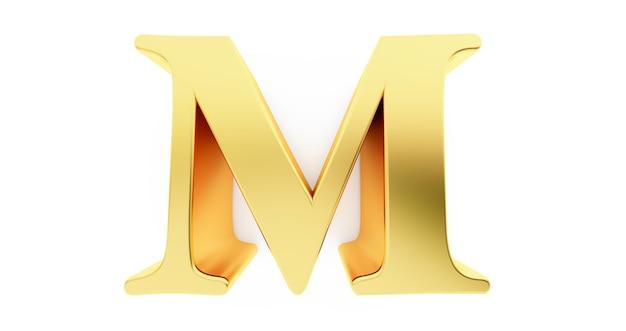 3d render litery m w złotym metalu na białym tle.