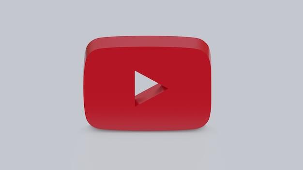 3d render logo youtube na szarym tle baner z kopią miejsca