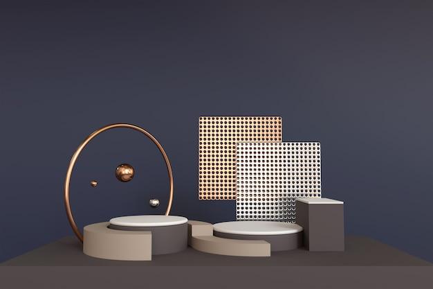 3d render luksusowe podium do wyświetlania produktów na ciemnoniebieskim tle