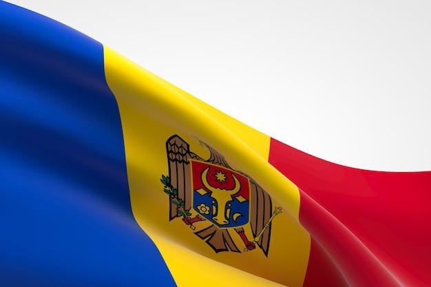 3d render macha flagą mołdawii.