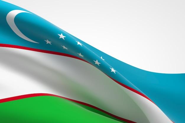 3d render macha flagą uzbekistanu.