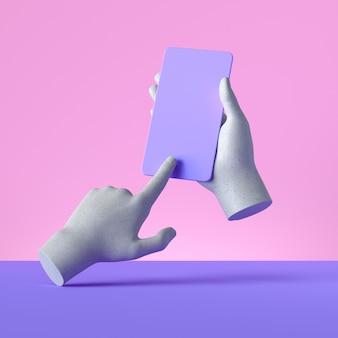 3d render manekin ręce trzymając gadżet inteligentny telefon, koncepcja urządzenia elektronicznego