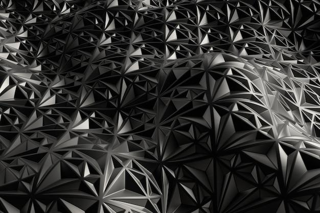 3d render metall tła z odbiciami. powierzchnia przemieszczenia. z falistego kształtu wytłoczone losowe wzory.