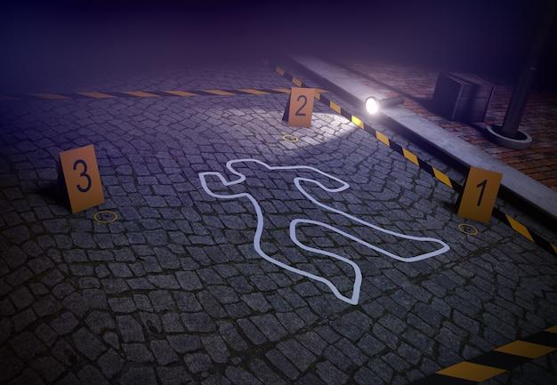 3d render miejsca zbrodni z sylwetką