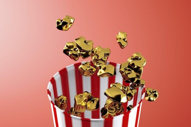 3d render monochromatycznego złotego pudełka na popcorn. jedzenie lewitacyjne. koncepcja przekąski kina