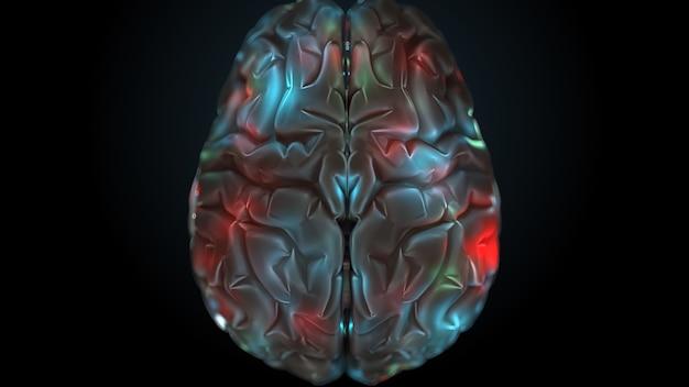 3d render mózgu z jasnymi i oświetlonymi strefami. powierzchnia mózgu jest wyróżniona różnymi kolorami.