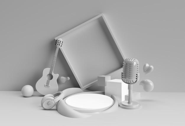 3d render muzyka tło plakat scena minimalnej sceny podium dla projektowania reklam produktów wyświetlania.