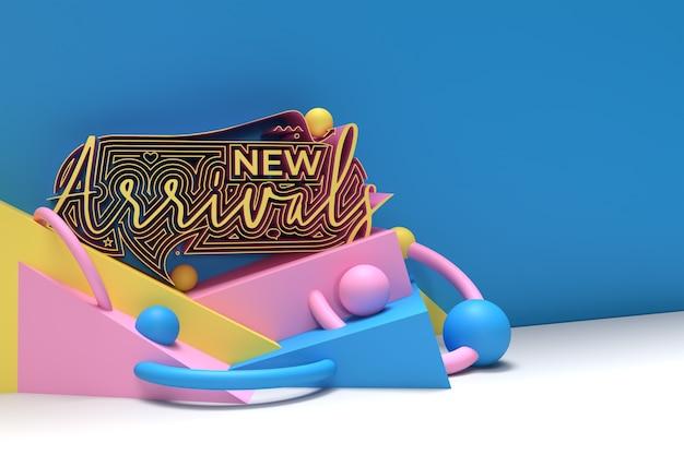 3d render new arrival kaligraficzny styl 3d ulotka tekstowa plakat ilustracja projekt.