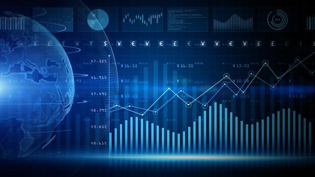 3d render niebieski cyfrowe dane finansowe diagram inwestycji w tle