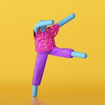 3d render niebieskiej postaci z kreskówek w kolorowych letnich ubraniach na żółtym tle